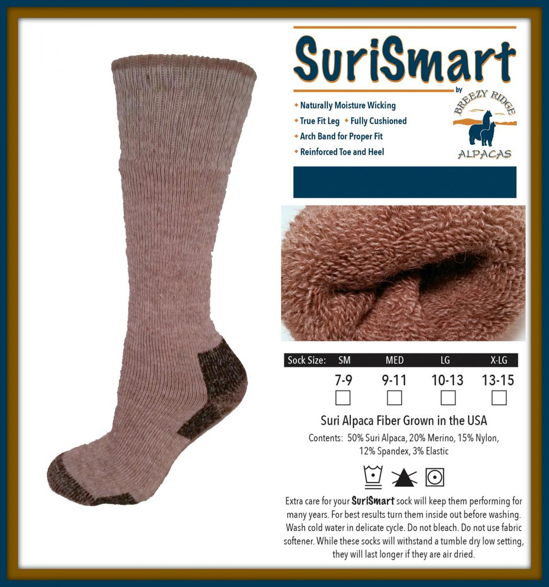 Med//Lg Naturally Moisture Wicking Merino Wool-blend Socks