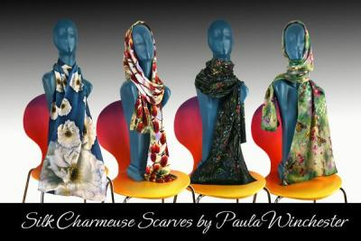 Charmeuse Silk Scarves 12 designs