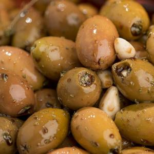 Olives Stuffed with Garlic with Oregano and Balsamic Vinegar