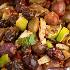 Roasted Garlic Lime Olive Mix with Chopped Peppers