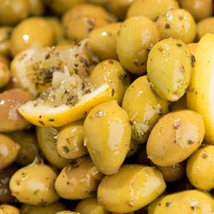 Cracked Green Olives with Lemon and Oregano