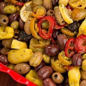 Greek Country Olives Mix with Lemon and Peppers