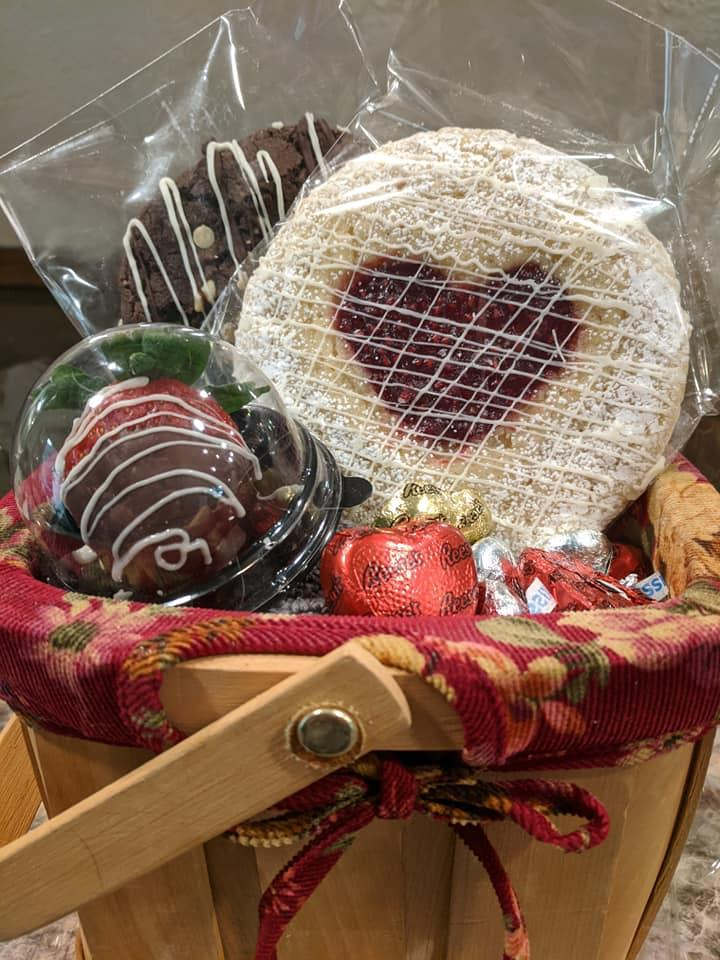 Raspberry Heart Cookie in a gift basket