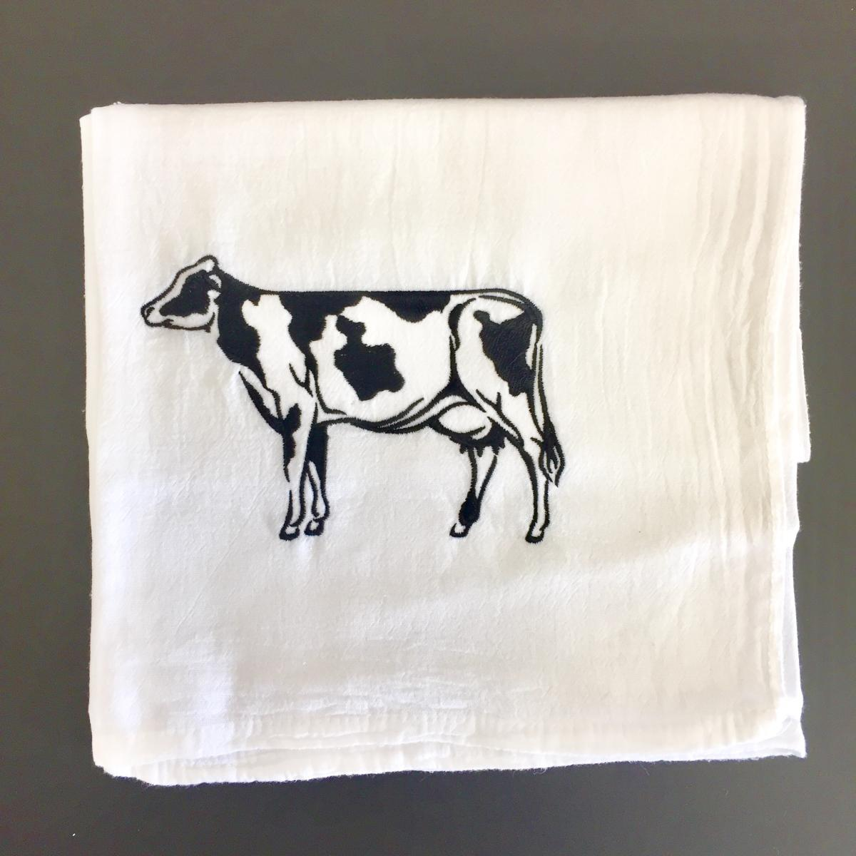 Embroidered Flour-Sack-Towel, Cow