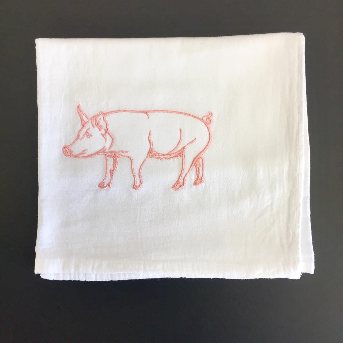 Embroidered Flour-Sack-Towel, Pig