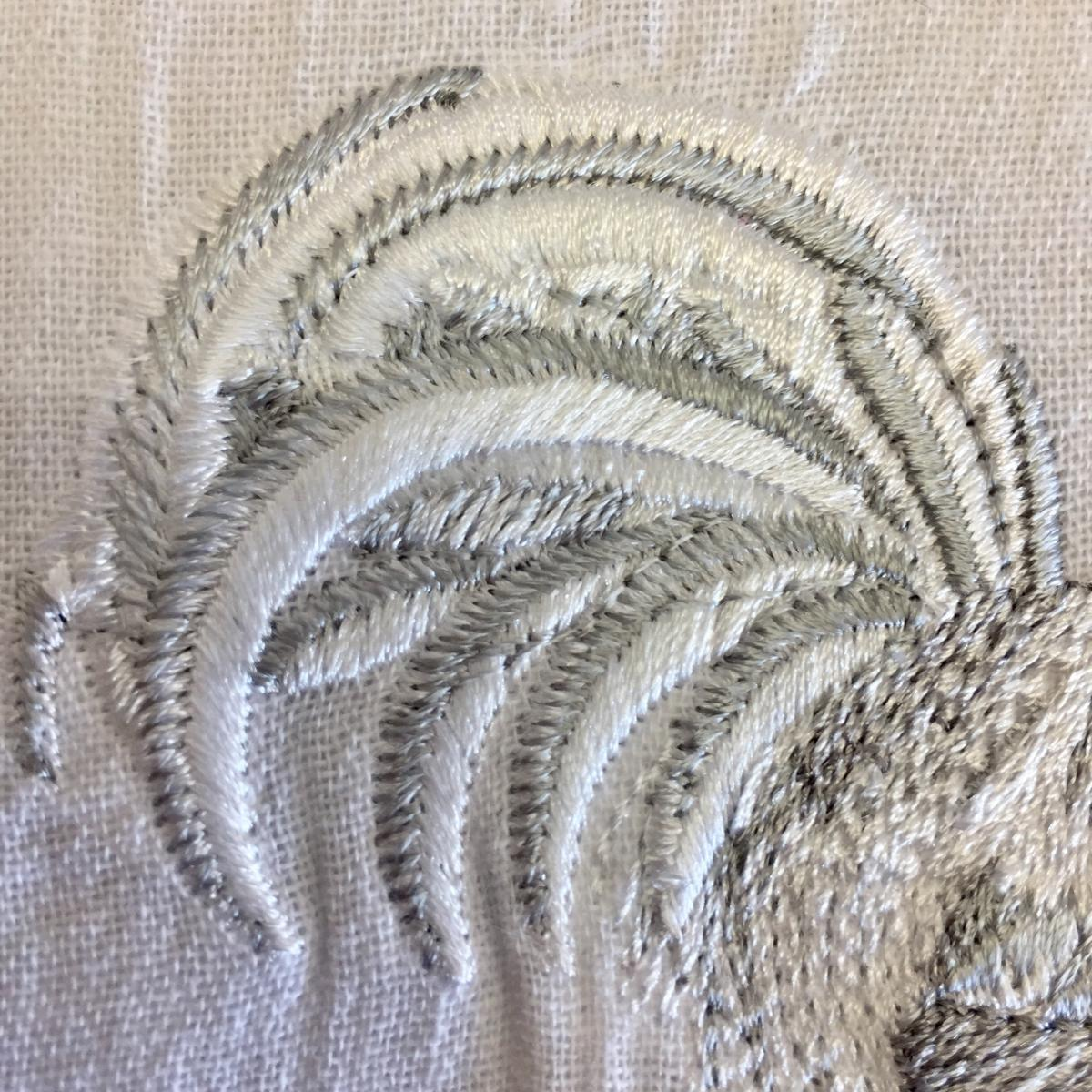 Embroidered Flour-Sack-Towel, White Rooster on Fence